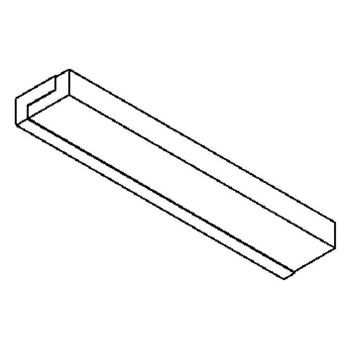 Drawing of 641.HL600/.. - MONET STRIP, opbouw wandlicht - inox behuizing + polycarbonaat deksel - met electronische ballast