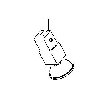 Drawing of 7230/.. - CONDOR 12V, built-up spot M10 - square - directional - without transformer