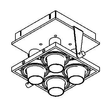 Drawing of 919/.. - BASE 4, plafondverlichting - richtbaar - met transfo