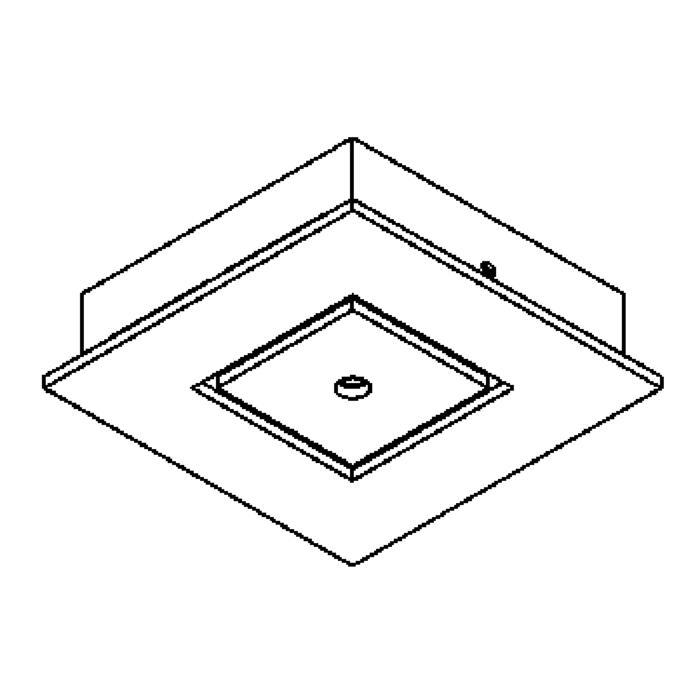 Drawing of 932.220/.. - SQUARE 230V, plafondverlichting - spot afzonderlijk te bestellen - zonder transfo