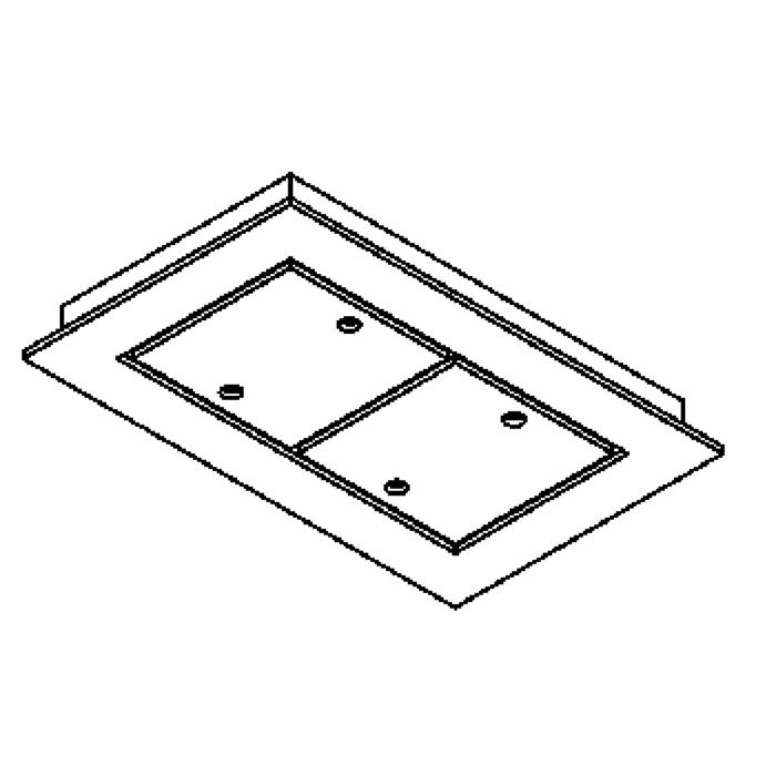 Drawing of 938.220/.. - SQUARE 230V, ceiling light - spots to be ordered separately - without transformer