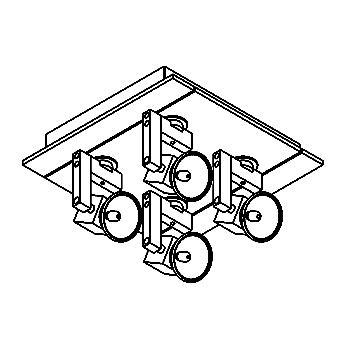 Drawing of 984/.. - CUBIC, plafondverlichting - met transfo