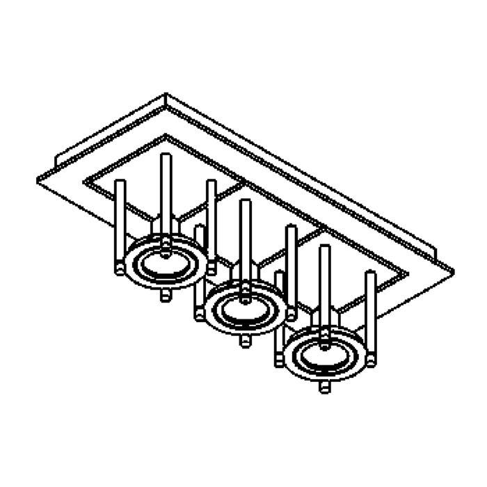 Drawing of 993/.. - SQUARE SALSA, plafondverlichting - richtbaar - met transfo