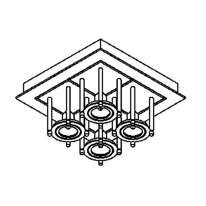Drawing of 994/.. - SQUARE SALSA, plafondverlichting - richtbaar - met transfo