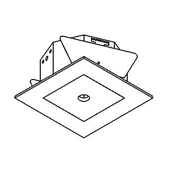Drawing of BORA50/.. - Ø80, inbouwbasis voor spot of pendel - vierkant - tweede kleur binnenplaat - zonder transfo