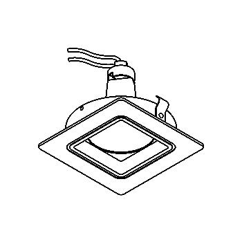 Drawing of CASHERO50/.. - Ø80 SYSTEM, inbouwcassette - vierkant - vast - zonder transfo