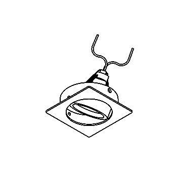 Drawing of CASLIMBO.DICRO/.. - SCS SYSTEM, inbouwcassette - vierkant - richtbaar - zonder transfo