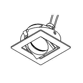 Drawing of CASSAMBA.DICRO/.. - SCS SYSTEM, inbouwcassette - vierkant - richtbaar - zonder transfo