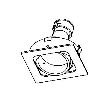 Drawing of CASVARIO.ES50/.. - Ø80 SYSTEM, inbouwcassette - vierkant - richtbaar
