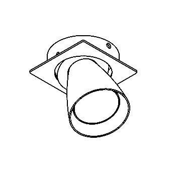 Drawing of CASVOLTA.DICRO/.. - SCS SYSTEM, inbouwcassette - vierkant - richtbaar - zonder transfo