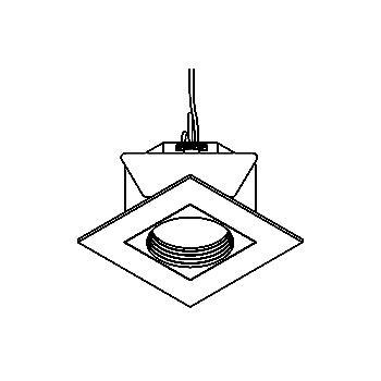 Drawing of COCO50/.. - Ø80, inbouwspot - vierkant - vast - tweede kleur binnenplaat - zonder transfo