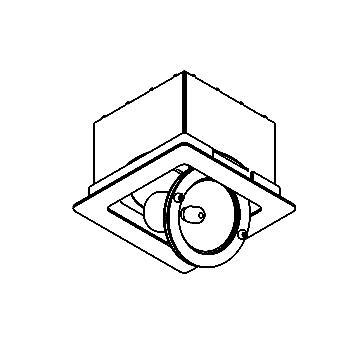 Drawing of CROSS50/.. - 92x92 INOX 316, inbouwspot - vierkant - richtbaar - zonder transfo