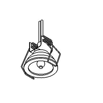 Drawing of D43/.. - DOWNLIGHT Ø39-40, inbouwspot voor verandaprofielen - rond - zonder transfo