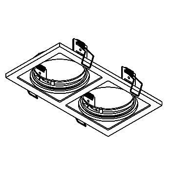 Drawing of FRAME2A/.. - Ø90 SCS SYSTEM, inbouwbasis voor 2 cassettes - vierkant