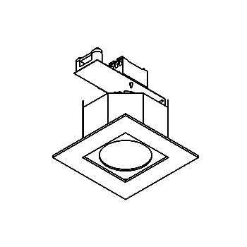 Drawing of KUBO.ES50/.. - Ø80, inbouwspot - vierkant - vast - tweede kleur binnenplaat
