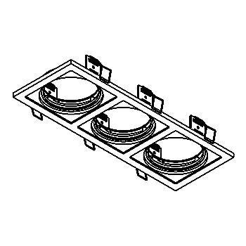Drawing of FRAME3A/.. - Ø90 SCS SYSTEM, inbouwbasis voor 3 cassettes - vierkant