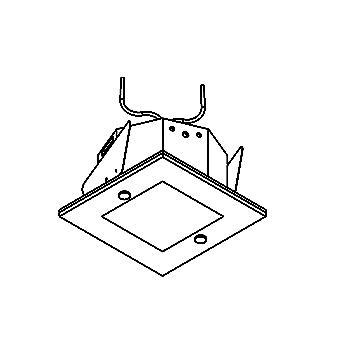 Drawing of KUBOGLAS50/.. - Ø80, Einbaustrahler - viereckig - fest - zweite Farbe für Innenplatte - mit Glass - ohne Trafo