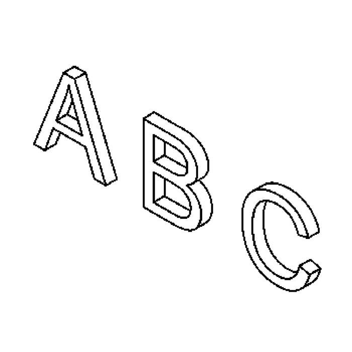 Drawing of LD/.. - LETTER, huisnummer - letter D - alu ano + lak
