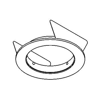 Drawing of ROUNDBASE.D100/.. - CONVERTIBLE SYSTEM, inbouwbasis voor cassette - rond