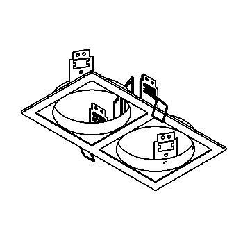 Drawing of FRAME2B/.. - 2xØ85-87 SCS SYSTEM, inbouwbasis voor 2 cassettes - vierkant