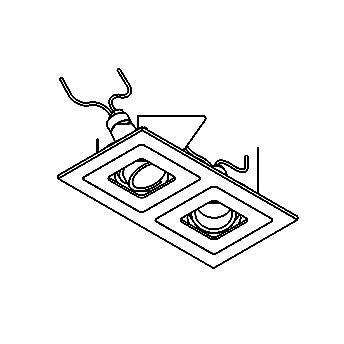 Drawing of VARIO2X35/.. - 2xØ65, inbouwspot - vierkant - richtbaar - zonder transfo