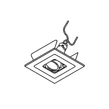 Drawing of VARIO35/.. - Ø65, inbouwspot - vierkant - richtbaar - zonder transfo