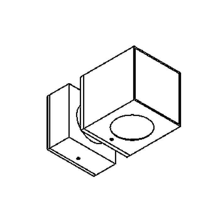 Drawing of W1292A/.. - BOB, built-up wall light - fixed - up-down-front