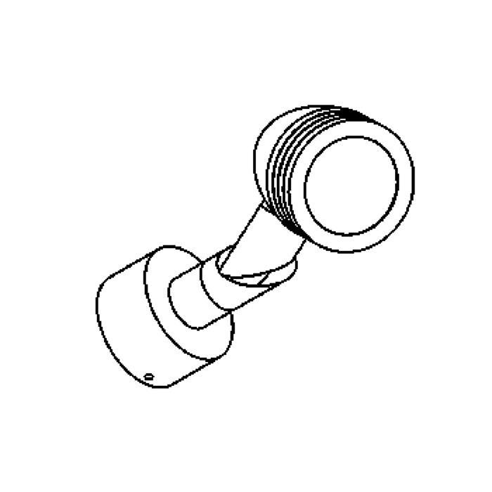 Drawing of W1303.220/.. - CUBA, opbouw wandlicht - richtbaar - down - met glas