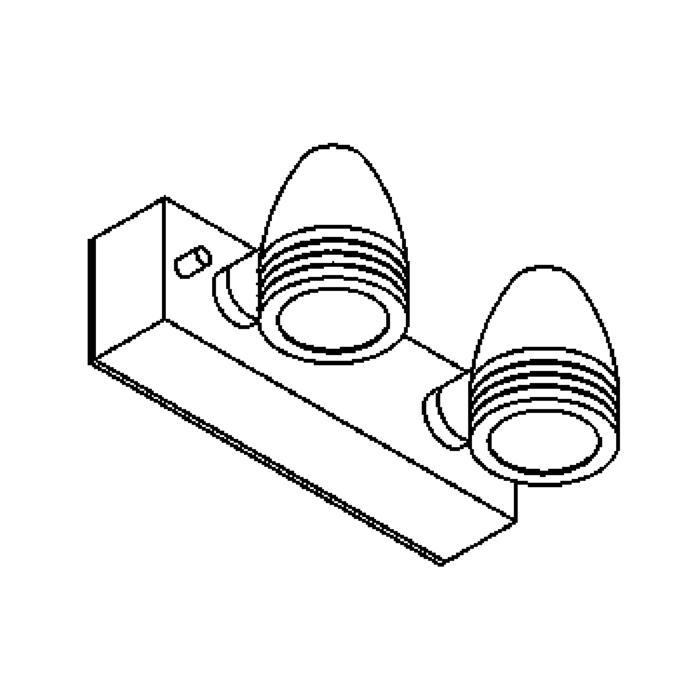 Drawing of W1308/.. - CUBA, opbouw wandlicht - down - met glas - met transfo
