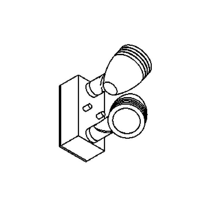 Drawing of W1310/.. - CUBA, opbouw wandlicht - richtbaar - down - met glas - met transfo