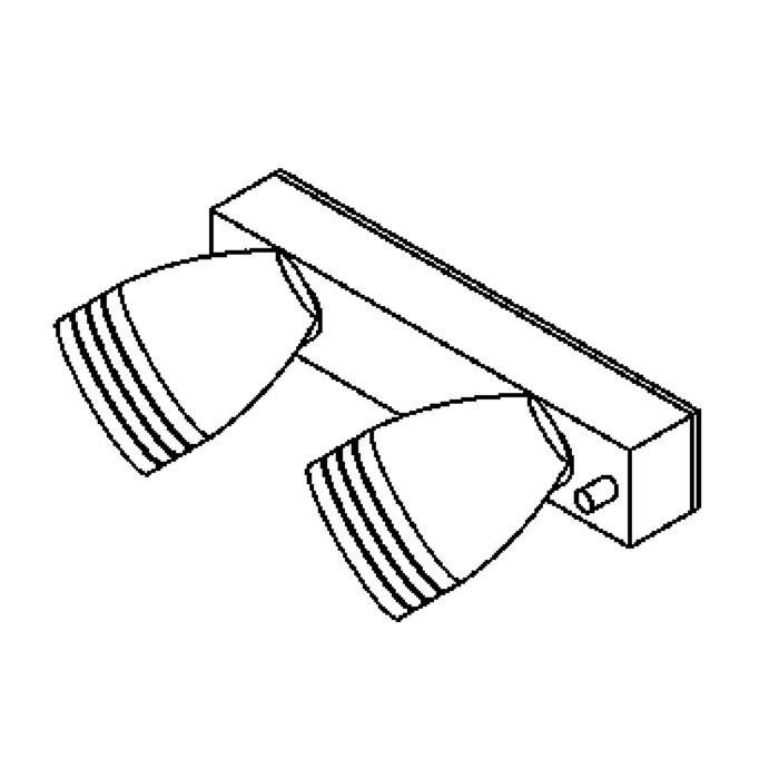 Drawing of W1318.220/.. - CUBA, opbouw wandlicht - richtbaar - down - met glas