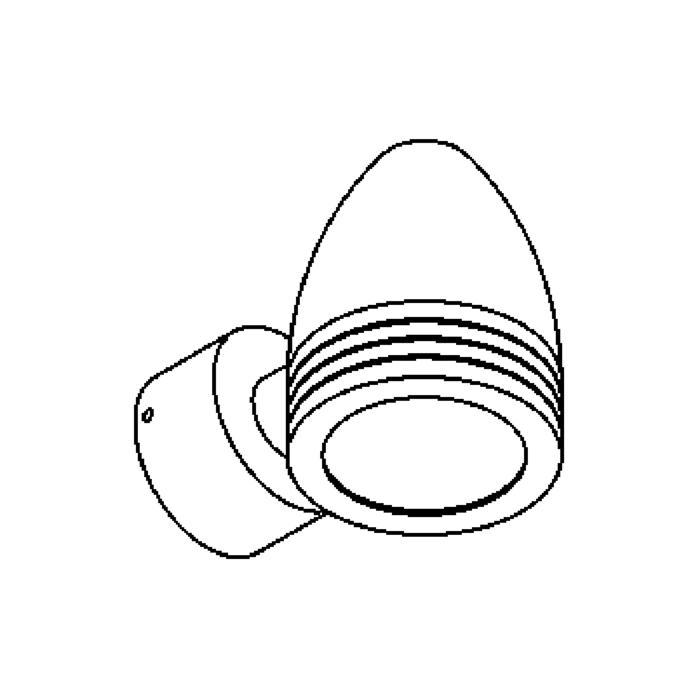 Drawing of W1319.220/.. - CUBA, opbouw wandlicht - vast - down - met glas