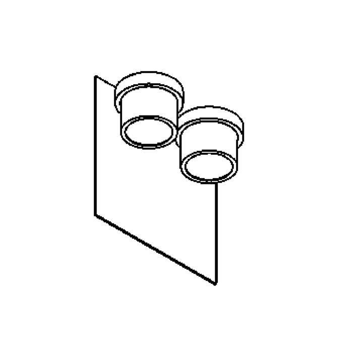 Drawing of W1342/.. - BISTRO, opbouw huisnummerwandlicht  - down - inox frontplaat
