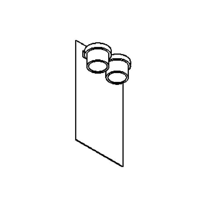 Drawing of W1343/.. - BISTRO, opbouw huisnummerwandlicht  - down - inox frontplaat