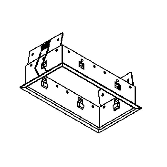 Drawing of FRAME2F.S1/.. - BETA SYSTEM, inbouwbasis voor 2 cassettes - vierkant