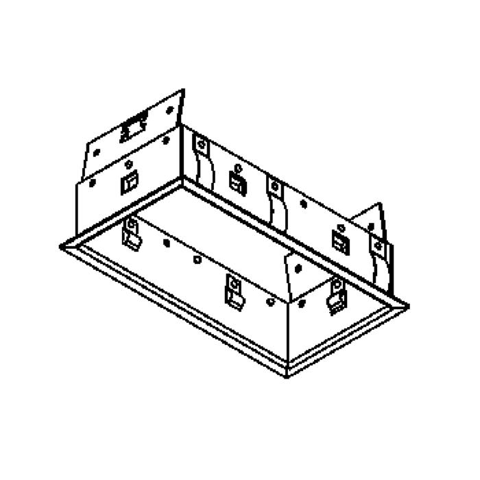 Drawing of FRAME2F.S2/.. - BETA SYSTEM, inbouwbasis voor 2 cassettes - vierkant