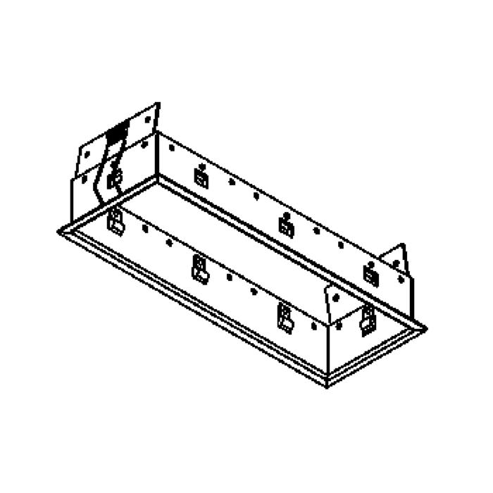 Drawing of FRAME3F.S1/.. - BETA SYSTEM, inbouwbasis voor 3 cassettes - vierkant