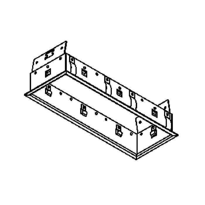 Drawing of FRAME3F.S2/.. - BETA SYSTEM, inbouwbasis voor 3 cassettes - vierkant