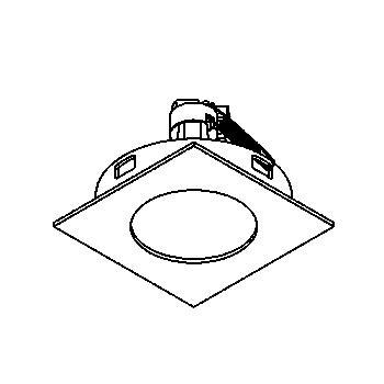 Drawing of CASALFA.DICRO/.. - BETA SYSTEM, inbouwcassette - vierkant - vast - zonder transfo