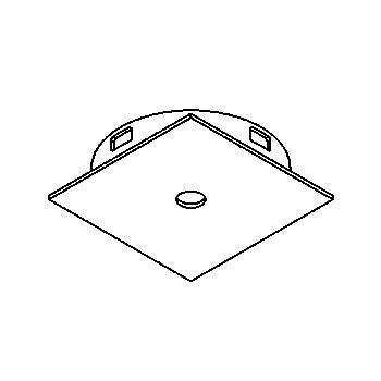 Drawing of CASFINO.12V/.. - BETA SYSTEM, inbouwcassette voor spot of pendel - vierkant - spot afzonderlijk te bestellen - zonder transfo