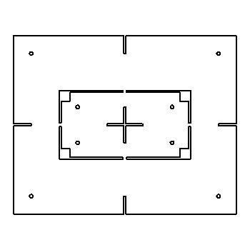 Drawing of MATRIX2F/.. - BETA SYSTEM, toebehoren - vierkant - sjabloon voor gyproc 2