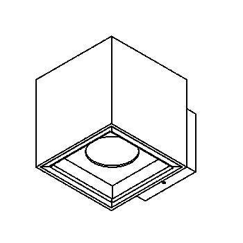 Drawing of 1750.ES50/.. - BETAPLUS, opbouw wandlicht - vierkant - vast - down