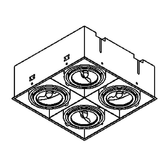 Drawing of 1859/.. - SPINNER X, inbouw plafondverlichting - vierkant - richtbaar - zonder transfo