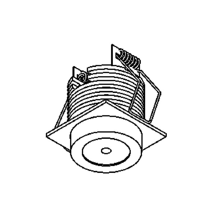 Drawing of 1376/.. - FELIX, downlight for veranda profiles - square - fixed - down - with optical lens in plexi housing - without LED driver