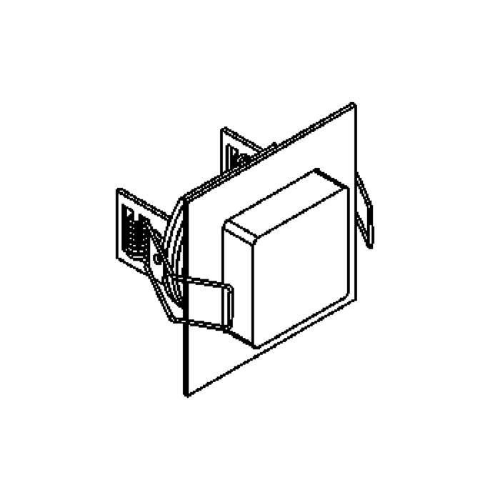 Drawing of W1362.S1/.. - CESAR X, inbouw plafond- en wandlicht - vierkant - aansluiting met 1,5m kabel - met optische lens in een plexi omhulsel - zonder LED driver