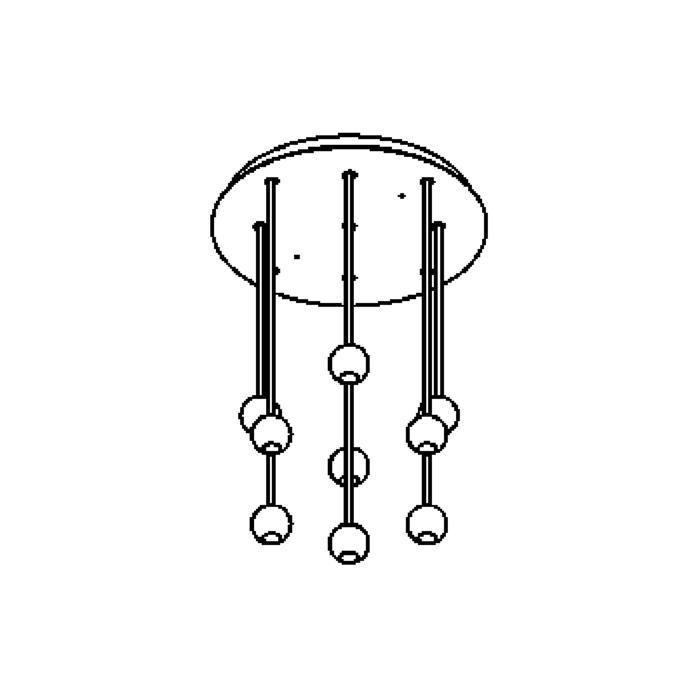 Drawing of 3089/.. - ORKA 9, hanglamp - down - stangen 4x30cm - 4x40cm - 1x50cm  - met LED driver