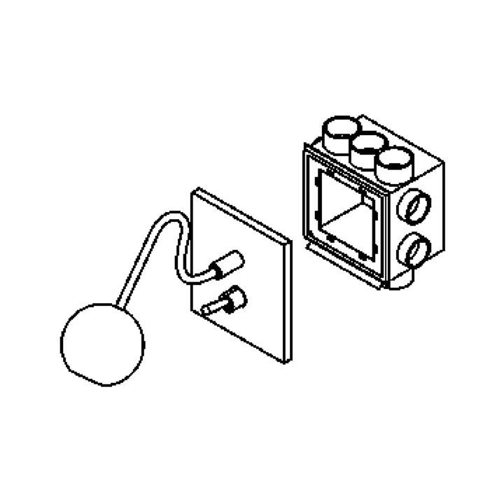 Drawing of 3022A/.. - ORKA WALL, inbouw wandlicht - richtbaar - met schakelaar - voor inwerkdoos Helia 275 of 276 (4 vijzen) - met LED driver
