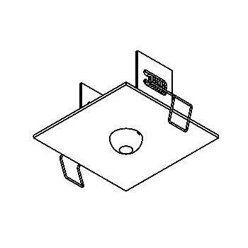 Drawing of 100.100.D8,3/.. - ROSETTE IN, inbouwrozet  - vierkant - met bolgewricht  B3