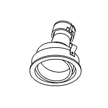 Drawing of CASCAMBIODOWNC/.. - Ø80 SYSTEM, inbouwcassette - rond - richtbaar