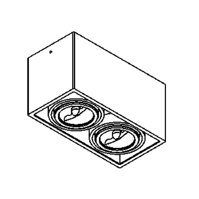 Drawing of 1876/.. - SPINNER X AR70, opbouw plafondverlichting - richtbaar - down - met transfo